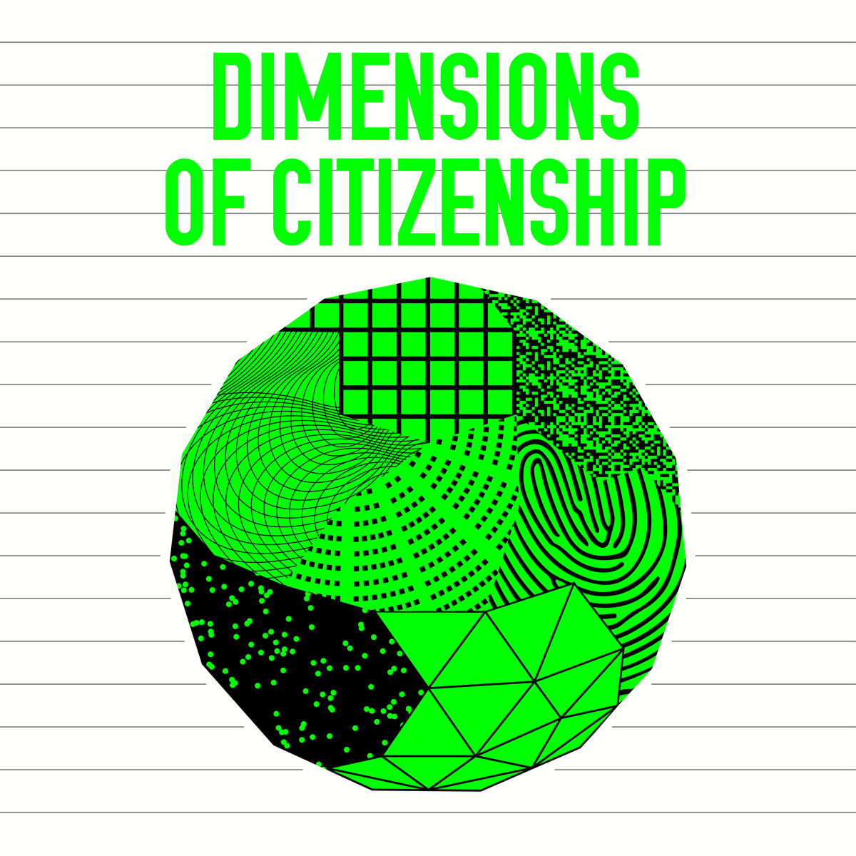 Dimensions of Citizenship exhibition logo with black and lime green globe