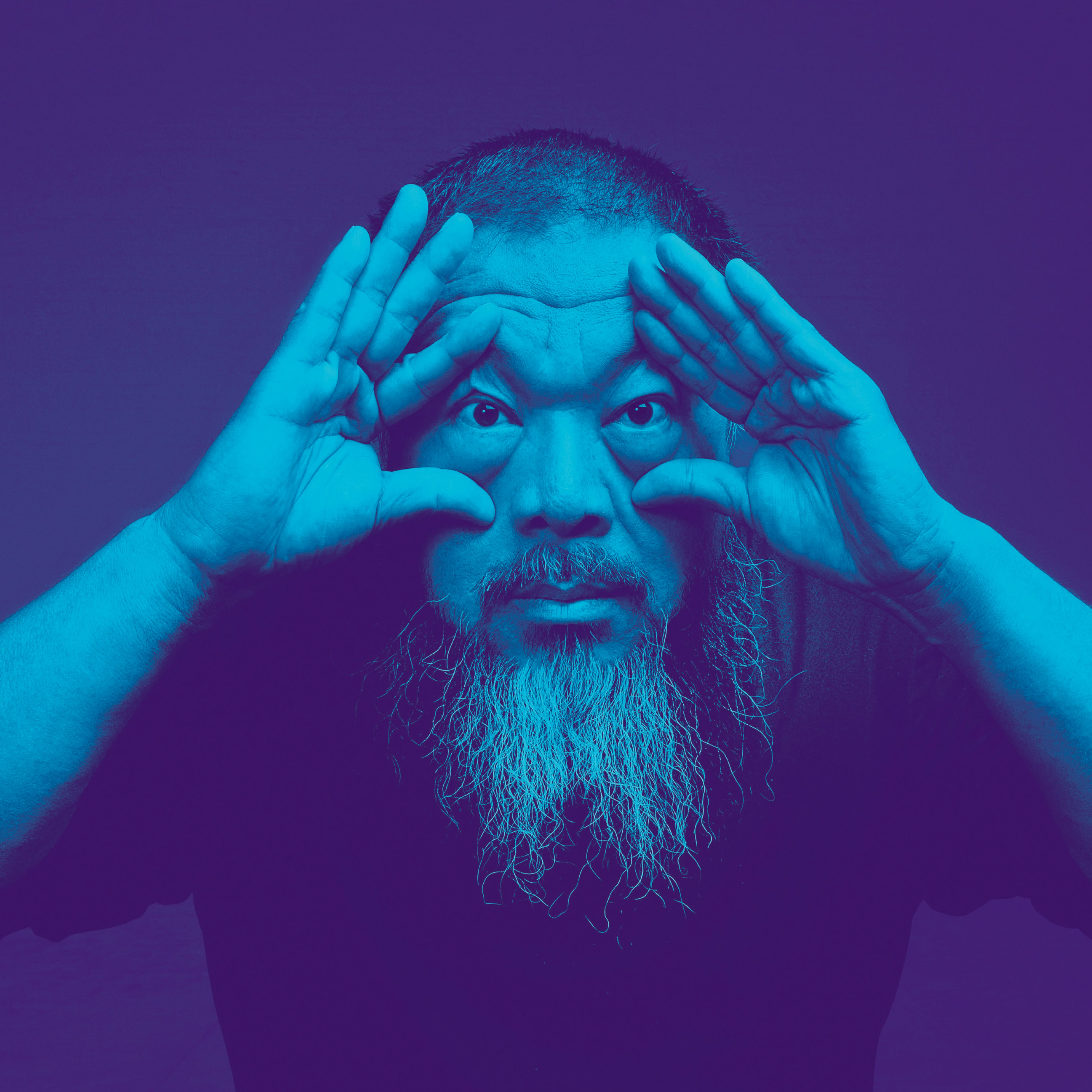 Portrait of Ai Weiwei in shades of blue