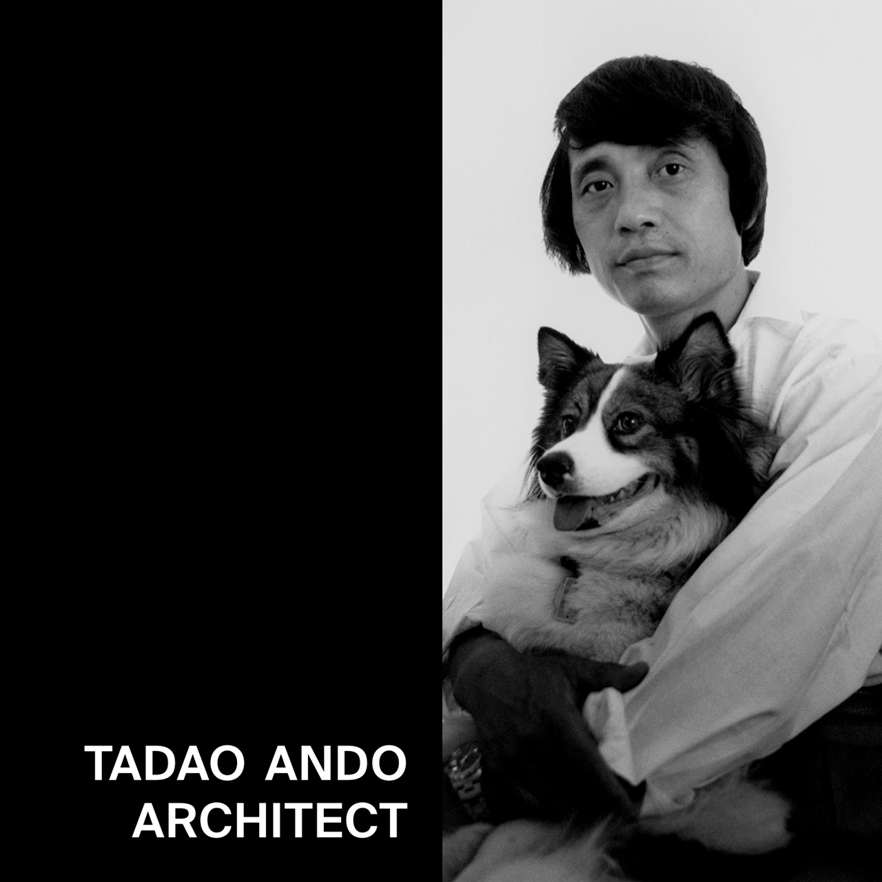 Image of young Tadao Ando with his dog