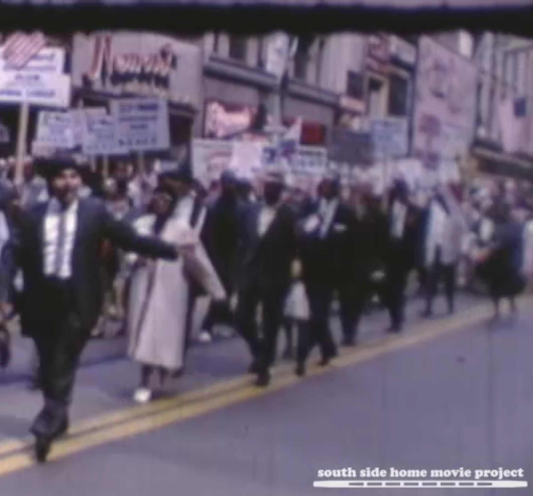 Image from the NAACP Annual Convention July 4th Parade, 1963, from the Nicholas Osborn Collection, courtesy of the South Side Home Movie Project.