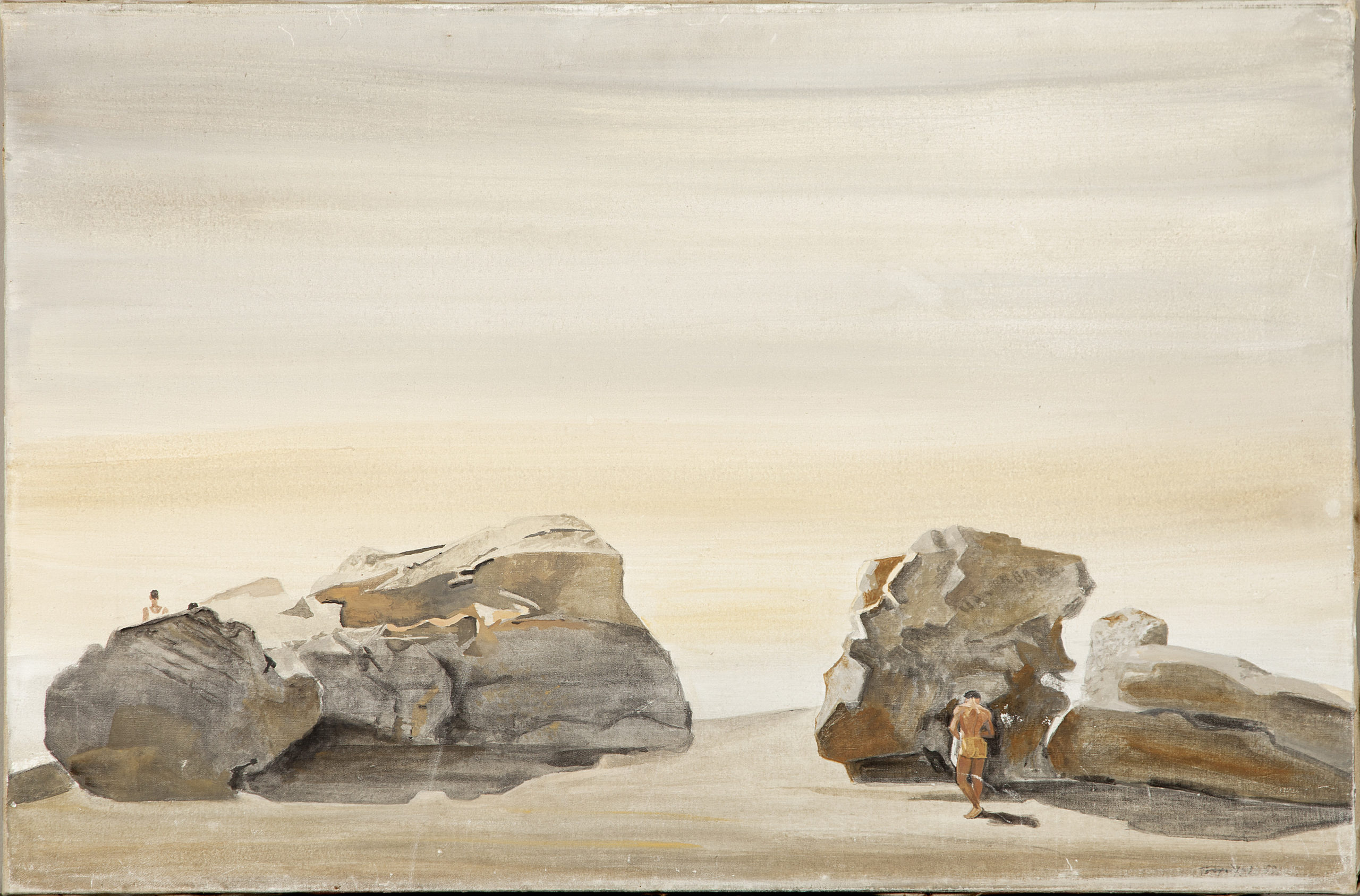 Yannis Tsarouchis, Rocks with Two Figures, St. Jean Cap Ferrat,1959, mixed media on canvas, 62X92 cm, Private Collection, USA.