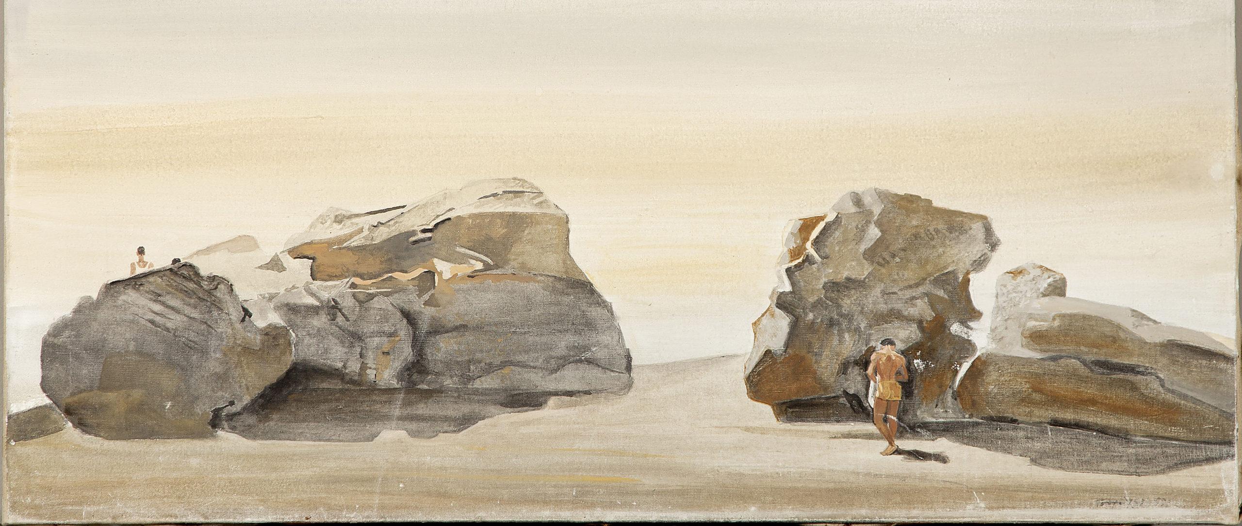 Beach Rocks with Two Figures, St. Jean Cap Ferrat, Yannis Tsarouchis 1959