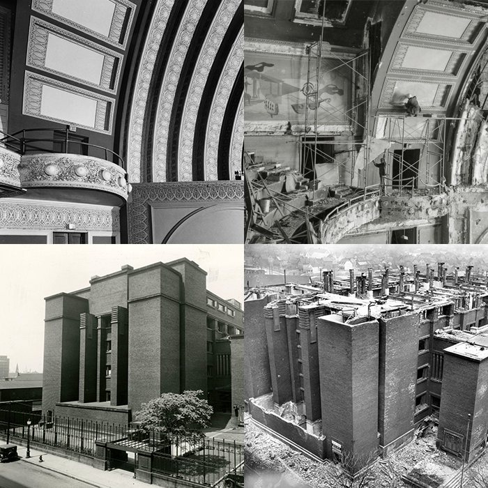 Archival photos showing two buildings before destruction and after