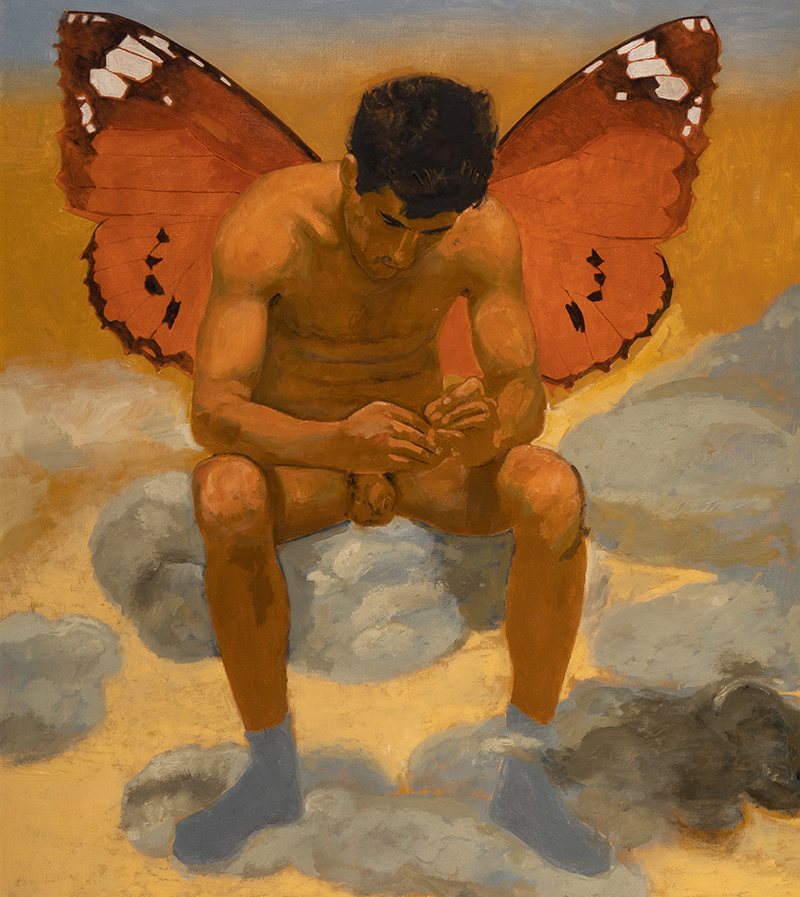 Painting of a man with butterfly wings