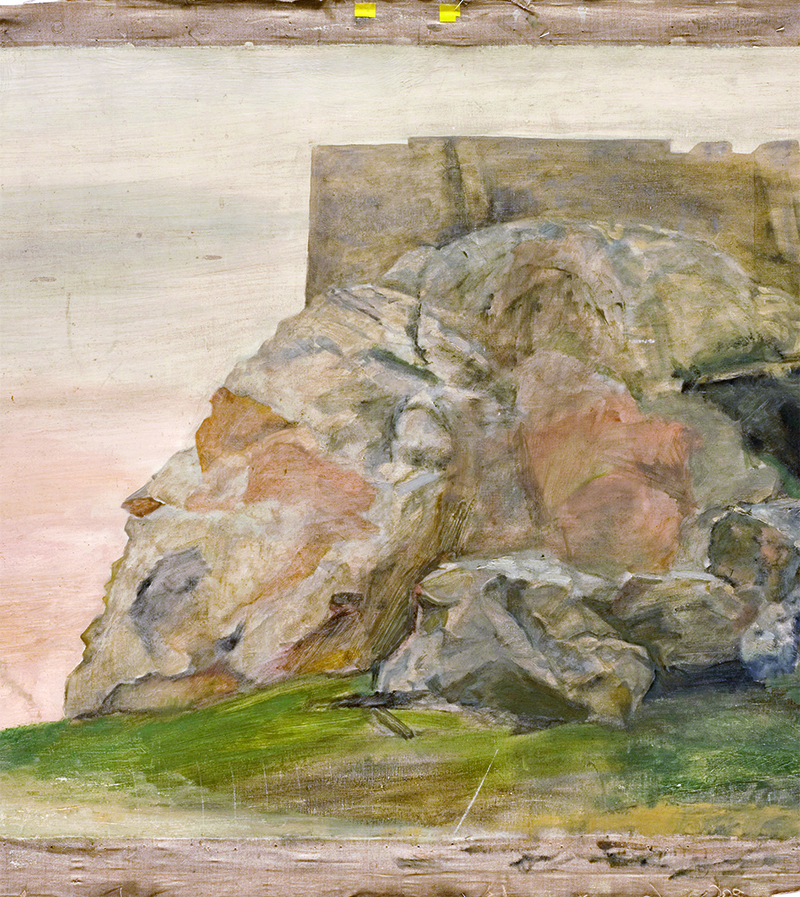 Yannis Tsarouchis, The Acropolis Hill (unfinished), 1960s, oil on canvas, 84 x 105 cm, Private Collection, (c) Yannis Tsarouchis Foundation.